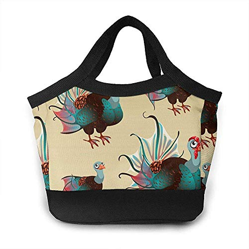 Lunch Bag, Cute Brown Turkey mit Big Blue Tail Rucksack Lunch Container