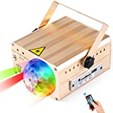 Flysight LED Stage Laser Lights, Sound Activated Party Lights Built-in Bluetooth Speaker with Rotating Magic Disco Ball,USB Charge 5V 2A,Support SD Card/U Disk, IR Remote Control(Gold)