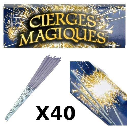 Lot de 40 cierges magiques pour gâteau danniversaire. Artifice dintérieur catégorie 1. Durée dillumination environ 45 secondes