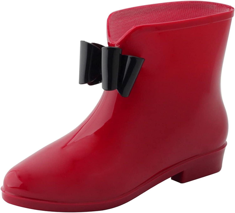 OMGard Women's Ankle Rain Boots Low Heel Jelly Bow Rainboots Waterproof Rubber for Garden
