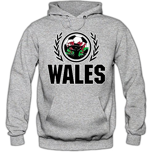 Wales WM 2018#2 Hoodie | Fußball | Herren | The Dragons | Trikot | Nationalmannschaft, Farbe:Graumeliert (Greymelange F421);Größe:S