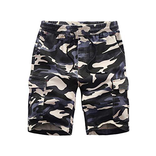 VECDY Herren Hose Sport Strandhose Sommer Plus Size Lose Tarndruck Patchwork Sport Strand Shorts Hosen Mode Sporthosen Badehose