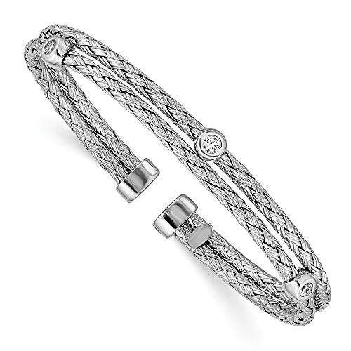 925 Sterling Silver Double Strand Cubic Zirconia Cz Cuff Bangle Bracelet Expandable Stackable Fine Jewelry For Women Gifts For Her