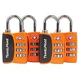 4er-Pack Open Alert Indikator TSA-Approved Gepäckschloss 3-stellig für Reise, Koffer & Gepäck (Orange)