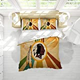 American Football Washi-ngton Red-Skins Bedding Set 3 Piece Set Duvet Cover Kids Soft and Breathable Quilt Cover with Four Corner Straps Queen Size