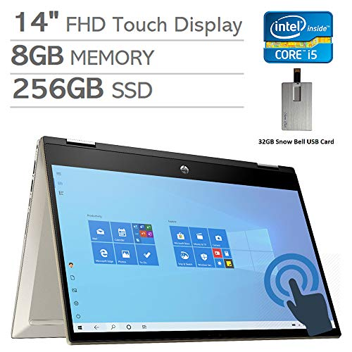 2020 HP Pavilion x360 2-in-1 14' FHD Touchscreen Laptop Computer, Intel Core i5-1035G1, 8GB RAM, 256GB PCIe SSD, Backlit Keyboard, Intel UHD Graphics, HD Webcam, Win 10, Gold, 32GB Snow Bell USB Card