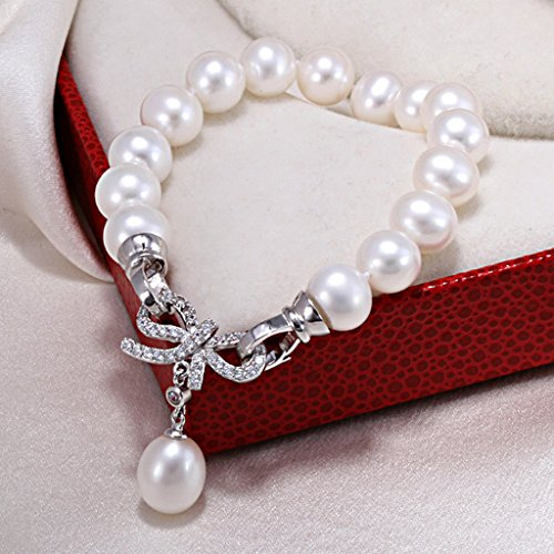Colcolo Simple de Perla Natural Pulsera de Perlas de Plata 925 Hebilla de Cristal de 7-8mm