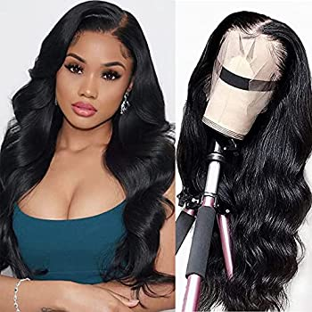 SUNYUON Lace Front Wigs Human Hair Body Wave 13x4 HD Lace Frontal Wig Pre Plucked with Baby Hair Brazilian Lace Front Wig Human Hair Wigs for Women 150% Density Natural Black Color(18inch)