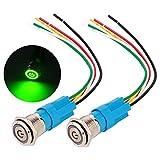 Gebildet 2 pièces 16mm Acier Inoxydable Verrouillage Bouton Poussoir Interrupteur, LED de Symbole d'alimentation 12V-24V 5A Interrupteur à Levier Étanche avec Fiche à Douille (LED Vert)