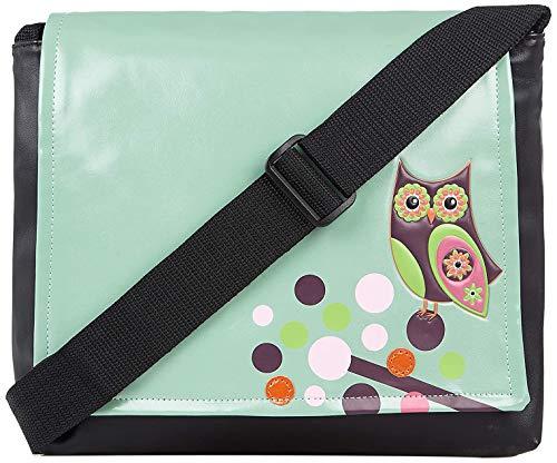 Shagwear Junge-Damen Umhängetasche, Schultertasche, Cross Body Bag:Verschiedene Farben und Designs:, Eule Hell-türkis/ Retro Owl, Medium