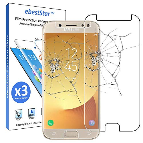 ebestStar - kompatibel mit Samsung Galaxy J7 2017 Panzerglas x3 SM-J730F Schutzfolie Glas, Schutzglas Displayschutz, Displayschutzfolie 9H gehärtes Glas [Phone: 152.4 x 74.7 x 7.9mm, 5.5'']