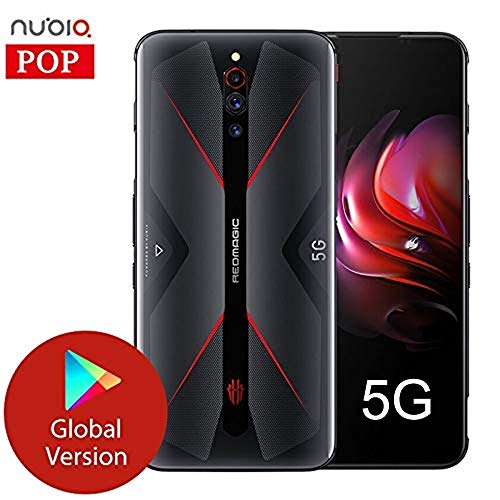 Nubia RedMagic 5G Gaming Handy Android 10 Snapdragon 865 5G 6.65''AMOLED Turbo Fan 64MP Fingerabdruck 4500mAh NFC HDMI (Schwarz, 8+128G)