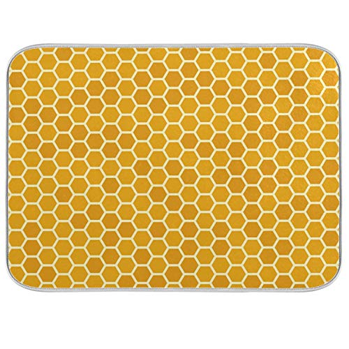 Dish Drying Mat for Kitchen Counter Yellow Honeycomb Pattern Absorbent Microfiber Drying Pad Dish Drainer Mat 18 x 16 Inch Reversible Bottles Dish Dry Pad