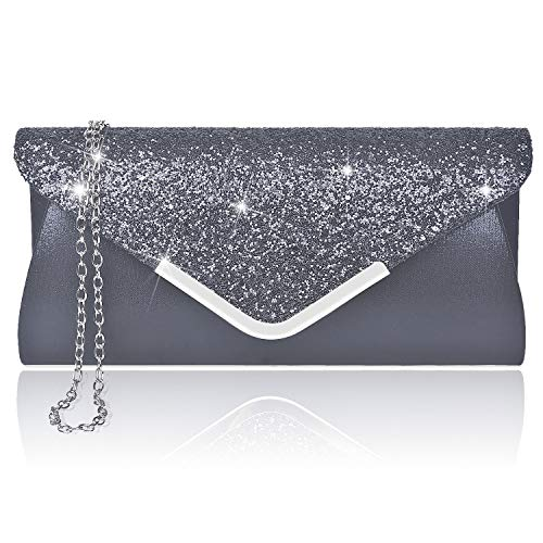 Larcenciel Damen Clutch Abendtasche Unterarmtasche Umhängetasche mit Strass-Steinen und abnehmbarer Kette in den Farben Silber Gold Altrosa(Schwarz)