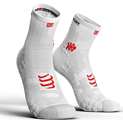 Compressport - Calcetines Running Altos PRSV3 - T1, Blanco/Rosa