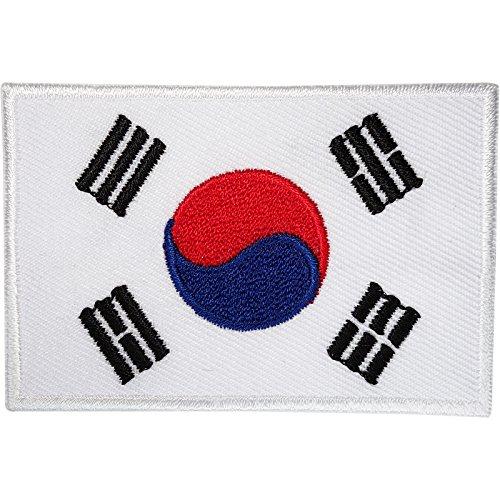 Aufnäher Südkorea Flagge bestickt koreanisches Abzeichen zum Aufbügeln auf Kleidung, Jacke, Tasche