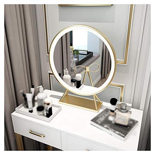XM-MIRROR LED Vanity Make-up-Spiegel, Tisch Kosmetik Make-up-Spiegel, Haus Schlafzimmer, Wohnzimmer, Schminktisch Schminkspiegel,Gold,Diameter50cm