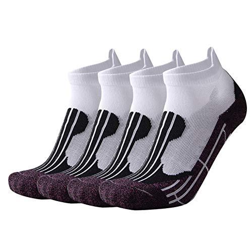 Manbozix Calcetines para Correr Calcetines Deportivos Transpirables Calcetines Entrenador Algodón Calcetines Deportivos de Corte Bajo para Hombres y Mujeres, Púrpura