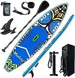 Tabla de surf de remo hinchable de Harsso, tabla de surf de remo, bomba de remo ajustable, mochila de viaje, correa impermeable, 335 x 83 x 15 cm, capacidad de carga de hasta 200 kg