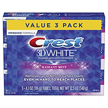 Crest 3D White Toothpaste Radiant Mint 4.1 oz  Pack of 3   Packaging May Vary