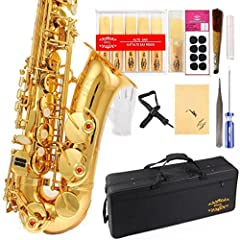Whether you want to buy a saxophone for yourself or for your friends or others, this saxophone is a product of choice as a result of its high quality and cost effective price. Eb E-Flat Alto Saxophone has High F# . Including: 11pc reeds,8pc mouthpiec...