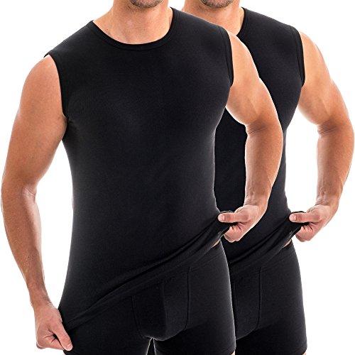 HERMKO 63040 2er Pack Herren Funktionsunterhemd für Sport und Alltag, Größe:D 6 = EU L, Farbe:schwarz