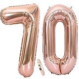 Ouceanwin 2 Palloncini Numero 70 in Oro Rosa, Gigante Foil Palloncini Numeri 70 Mylar Palloncino Gonfiabile 40' Elio Pallone per Signore Ragazze Decorazioni Feste 70 Anni Compleanno (100 cm)