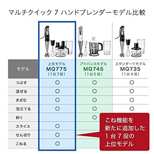 ブラウンハンドブレンダーマルチクイック71台7役つぶす・混ぜる・泡立てる・きざむ・スライス・せん切り・こねる離乳食対応ブラック/シルバーMQ775