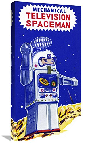 Global Gallery Budget GCS-376390-30-142 Retrobot Mechanical Television Spaceman Gallery Wrap Giclee on Canvas Wall Art Print