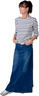 Wash Clothing Company Ladies Long Denim Skirt Stonewash Blue Andrea Maxi Full Length Flared with Stretch