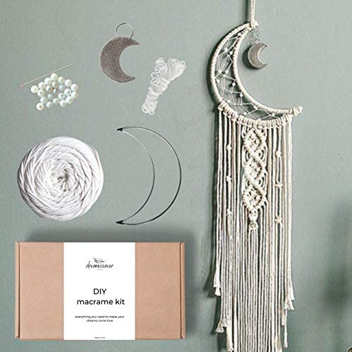 Macram Moon Dreamcatcher DIY Craft Kit Make Your Own Bohemian Style Home D cor Wall Hanging product image