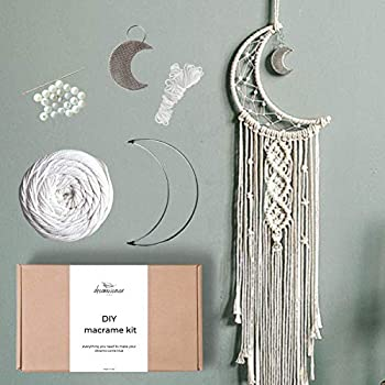 Macramé Moon Dreamcatcher DIY Craft Kit – Make Your Own Bohemian Style Home Décor Wall Hanging – Rewarding Art Project for Teens or Adults