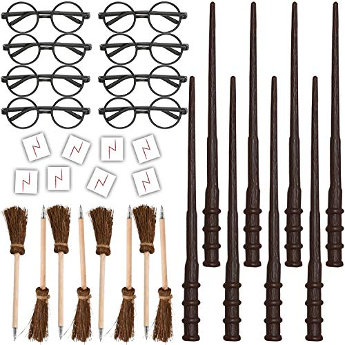 HeroFiber Wizard Party Favors for 8 - Includes Broom Pens, Wands, Glasses, and Lightning Scar Tattoos - Perfect for a Wizard School Theme Birthday Party (8 of Each)