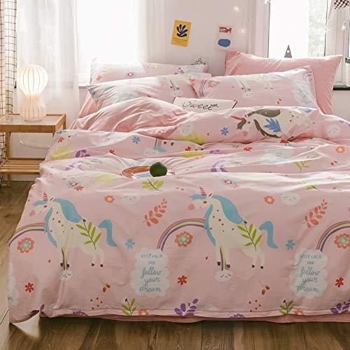 LAYENJOY Juego de funda de edredón de unicornio para cama de matrimonio, 100% algodón, diseño colorido de unicornio arcoíris estampado en rosa, linda funda de edredón completa para niños, adolescentes y niñas, sin edredón