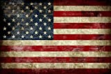 Pyradecor Large Old Vintage American Flag Canvas Prints Wall Art Pictures Paintings for Living Room Office Home Decorations Modern Abstract Landscape Artwork 24' x 36'
