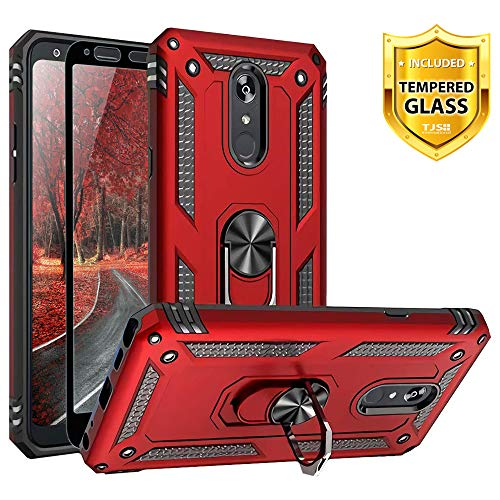 TJS Phone Case for LG Stylo 5/Stylo 5 Plus/Stylo 5V/Stylo 5X, with [Full Coverage Tempered Glass Screen Protector][Impact Resistant][Defender][Metal Ring][Magnetic Support] Heavy Duty Armor (Red)