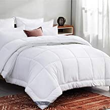 Bedsure White Down Alternative Comforter Full/Queen- All-Season Quilted Comforter Duvet Insert with Corner Tabs - 300GSM Plush Microfiber Fill - Machine Washable