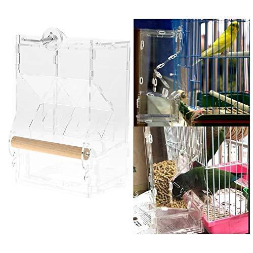 Alimentador de la jaula pájaros, Comedero acrílico a prueba salpicaduras Loros mascotas Alimentador No ensucie el alimentador automático alimentos con perca para periquito Cockatiel(S Double Type)