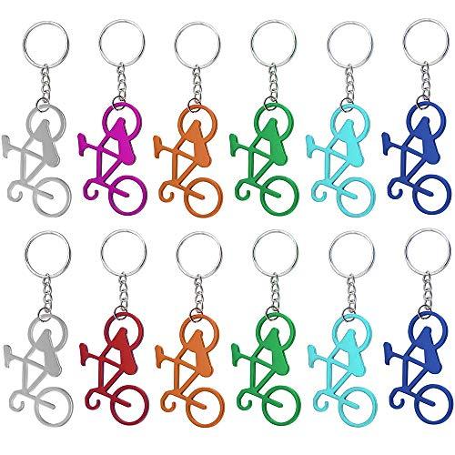 Gobesty - Apribottiglie per bicicletta, 12 pezzi, in alluminio, portachiavi personalizzato, portachiavi in metallo, portachiavi divertente, regalo per bicicletta, colore casuale