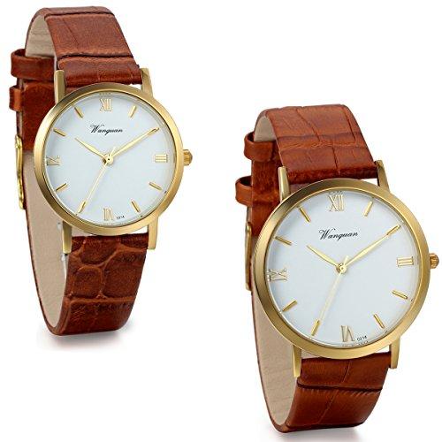 Jewelrywe Reloj de Parejas los Enamorados Retro Reloj de Cuarzo Vintage diseño Simple Correa de Cuero CAF?Regalo de día de los Enamorados