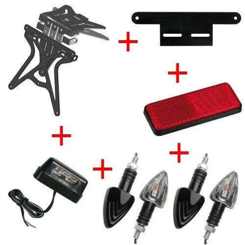 Kit pour moto support de plaque d'immatriculation universel + 4 Flèches + lumière plaque d'immatriculation + réflecteur + Support Lampa KTM LC4 660 Rally 1999 – 2002