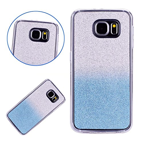 MUTOUREN Samsung Galaxy S7 Edge Suave Caso de TPU Brillante Destello espumoso Caso de la Cubierta Resistente a los arañazos Caso de Parachoques Trasero Protector Transparente - Azul gradiente