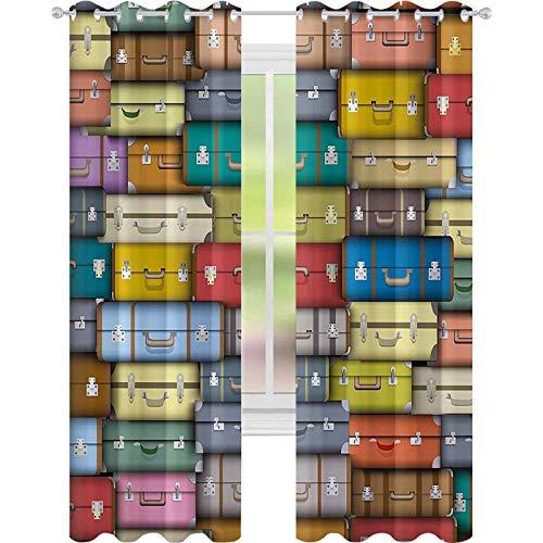 Cortinas opacas – aislamiento de juntas, coloridas maletas fondo vintage viaje viaje vacaciones temática diseño artístico W52 x L95 cortinas para sala de estar, multicolor