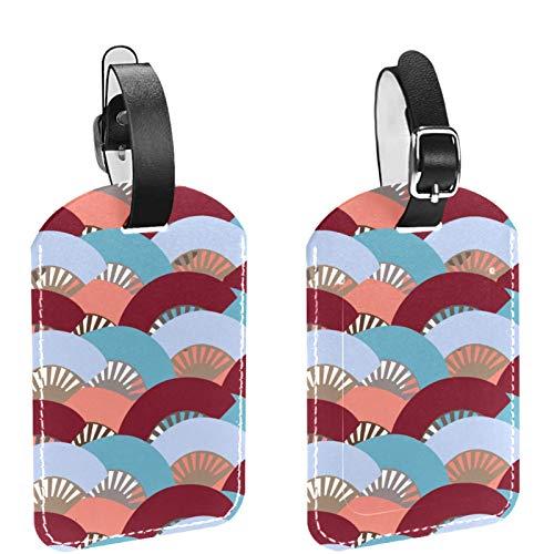 Paquete de 2 etiquetas de equipaje para maletas – Juego de etiquetas de identificación de viaje para bolsas y equipaje (DIY) colorido patrón de ventilador español