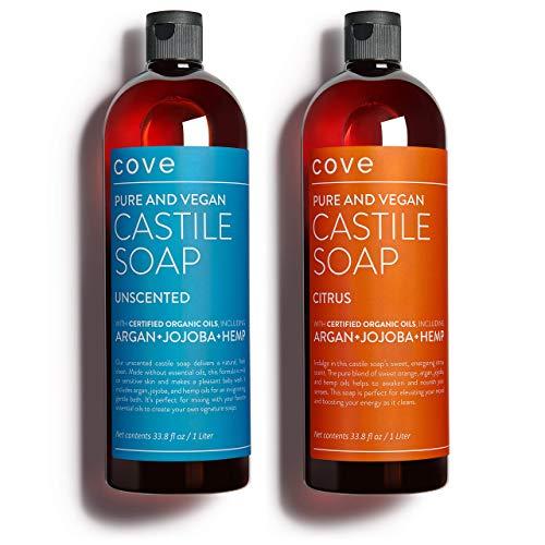 Cove Castile Soap Unscented & Citrus - 2x 1 Liter / 33.8 oz Bundle -...