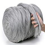 MeriWoolArt - Lana de merino 100 % para punto y ganchillo con hilo de 4-5 cm de grosor, lana de merino gruesa para bufanda, manta y cojín XXL, gris claro, 4,5Kg Rolle