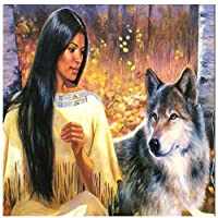 大人のためのジグソーパズル1000ピース黄色い服を着た部族の少女とオオカミ木製パズルは家族のためにリラックスする自由な時間を設定します