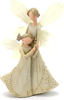 StoneHouse 9 inches Mother Daughter Angel White Dress Resin Figurine