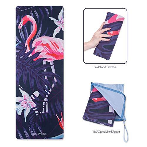 "TENOL JELS Travel Yoga Mat 15mm Thin Folding Hot Yoga Mat with Carrying Bag Non Slip Sweat Absorbent Quick Dry Print Yoga Mat &Towel Combo for Pilates Ashtanga and Bikram72""x26""X 1/16Inch"