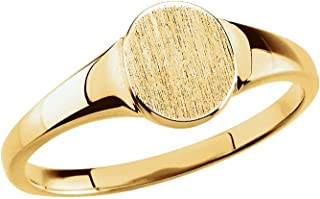Jewels By Lux 18K Yellow Gold Solid Oval Signet Ring